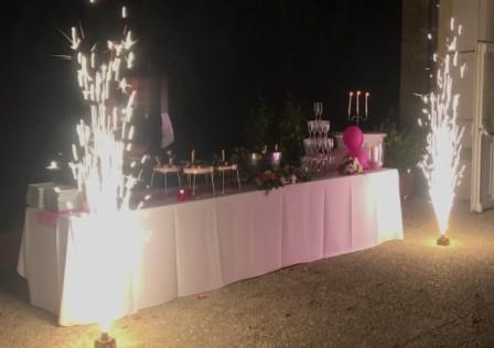 R2 Animation mariage Lorraine Fontaines d'artifices, Jets de scène au Château de Puxe
